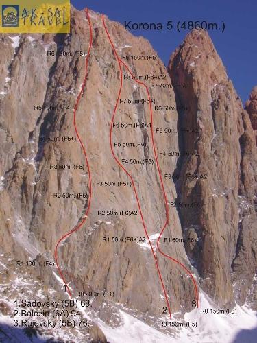 Пик Корона 5-я башня высотой 4860 метров. Маршрут Белезина 6А под номером 2