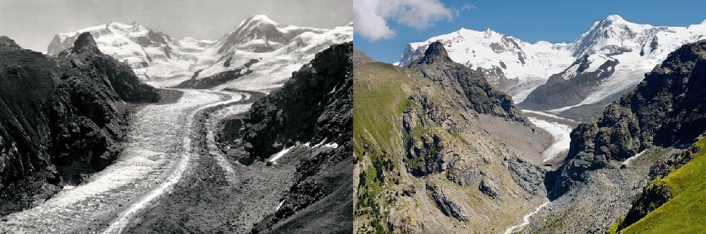Глетчер Алеч (Aletsch-Gletscher) в 1865 и в 2010 гг.