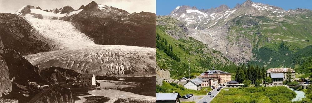 Ронский глетчер (Rhone-Gletscher) в 1855 и в 2010 гг.