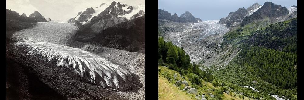 Глечтер Трифт (Trift-Gletscher) в кантоне Вале в 1891 и в 2010 гг.