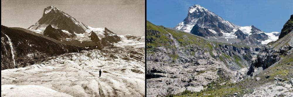 Вид на гору Дент Бланш (Dent Blanche) с глетчера Ferpècle в 1900 и в 2010 гг.