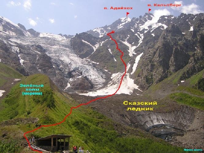 Маршрут восхождения на вершину Адай-Хох