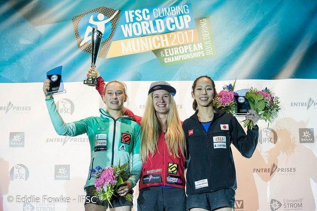 Женский подиум победителей Кубка Мира в боулдеринге 2017 года