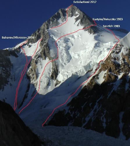 Гашербрум I (Gasherbrum I, 8080 м)  - новый чешский маршрут Satisfaction по Юго-Западной стене