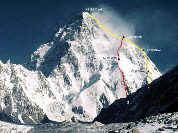 К2. Красной линией отмечен маршрут Чезена, желтой линией - стандартный маршрут восхождения по ребру Абруццкого