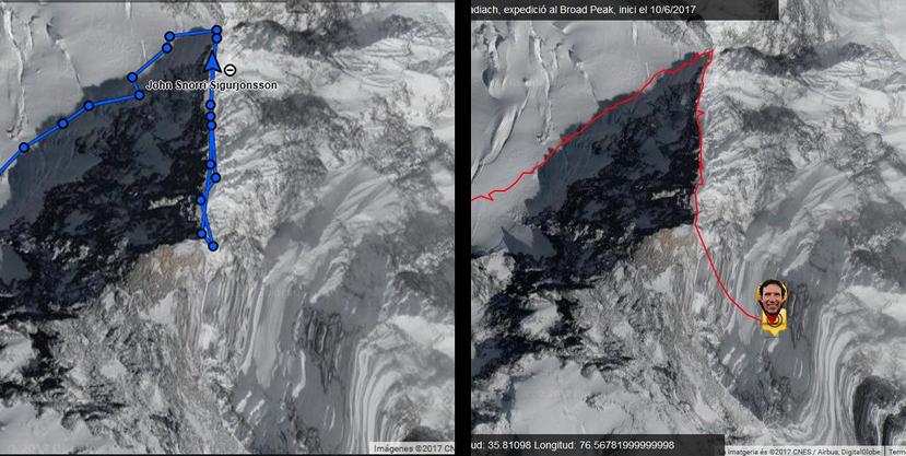 Сравнение показаний GPS Тунка Финдика и Оскара Кадьяка (справа) с показаниями GPS Джона Снорри (с лева) при восхождении на Броуд Пик, август 2017