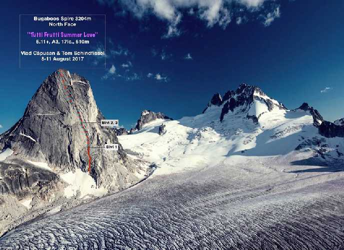 Tutti Frutti Summer Love  - новый маршрут по Северной стене горы  Багбу Спайр (Bugaboos Spire) высотой 3204 метров в Британской Колумбии, Канада