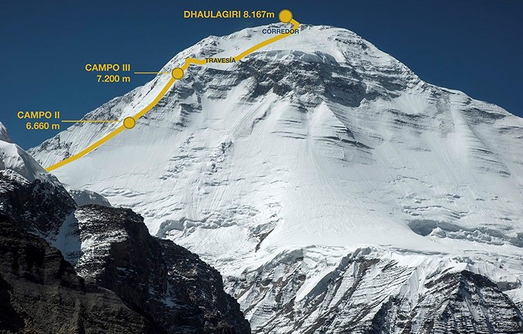 Маршрут Карлоса Сория на вершину Дхаулагири