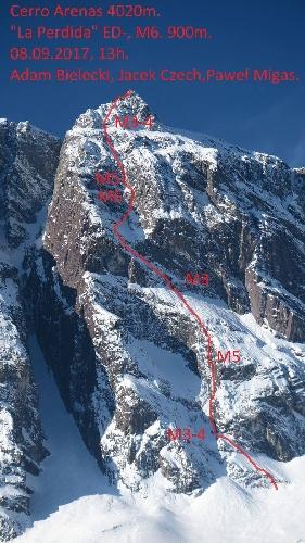 "маршрут ""La Perdida"" по Южной стене горы Серро Аренас (Cerro Arenas, 4020 м), Чили"