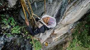 Прирожденные скалолазы: как собирают мед диких пчел в Непале