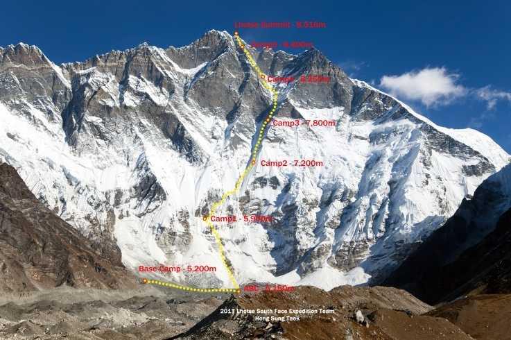 Планируемый маршрут Сунга и Хорхе на Южной стене Лхоцзе. 2017 год. Фото The Lhotse South Face Expedition
