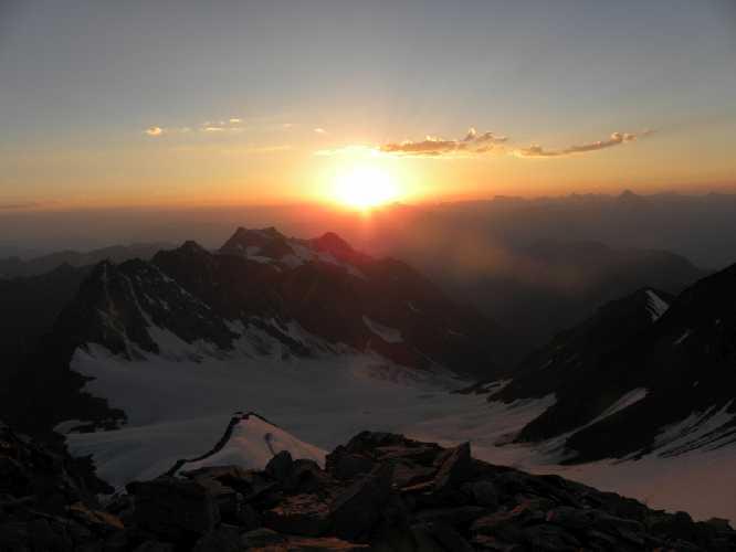 Вид на закате с вершины г. Лайла