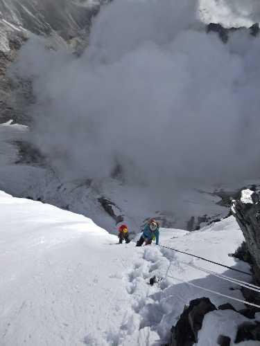 Маршрут ко второму высотному лагерю на южной стене Лхоцзе
