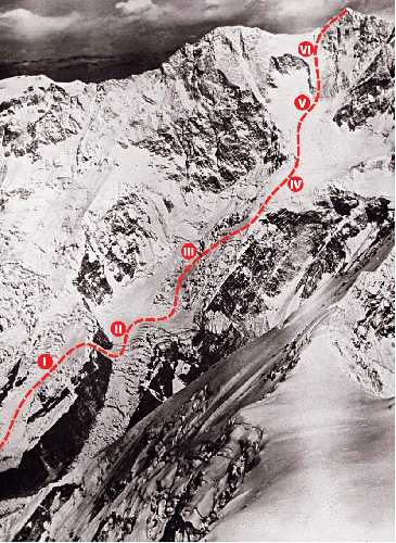 Маршрут первого восхождения на Канченджангу экспедиции 1955 года. Фото Norman Hardie