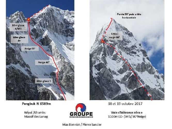 маршрут Tolérance Zero по Северной стене непальской горы Пангбук Северный (Pangbuk North 6589 м). Фото Groupe militaire de haute montagne Chamonix