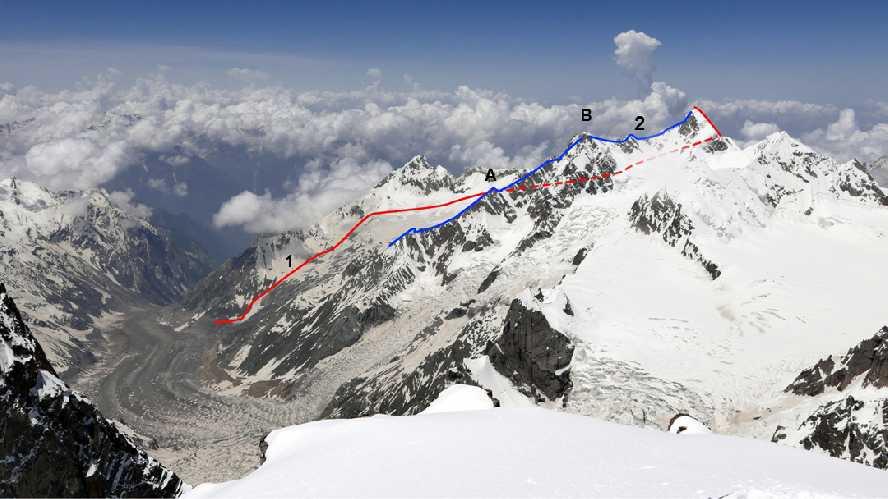 Пик 6013 (~ 6038 м). Вид с вершины Арджуна.<br>(1) Словенский маршрут 2017 года, который начинается позади вершинного плато и выходит на северный хребет.<br>(2) Предполагаемая линия польского первого восхождения 1979 года вдоль юго-восточного хребта, проходящая над (A) Пиком 5450 и (B) Пиком 5800. Фото Марко Презель