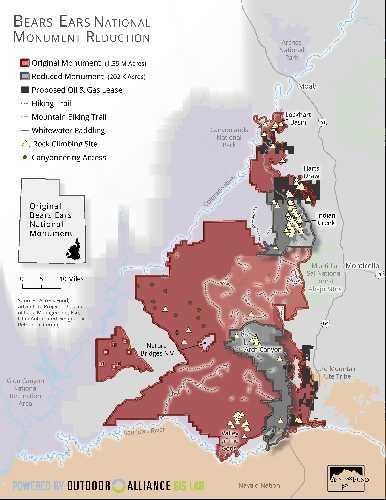 Территория Национального парка Bears Ears National Monument с предполагаемыми зонами добычи полезных ископаемых. Фото accessfund.org