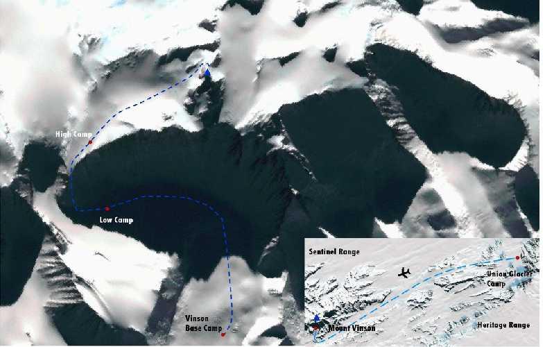 массив Винсон (Vinson Massif), маршрут восхождения