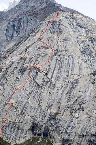"Маршрут ""My local river is a nightmare"" по контрфорсу Rangdum Afterwork Pillar (4500 м)"