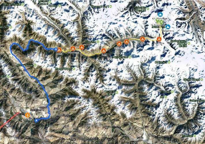 Треккинговый маршрут к базовому лагерю К2.