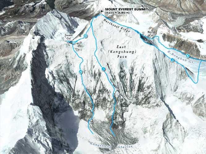 Эверест, маршруты Восточной стены. Фото nationalgeographic . com