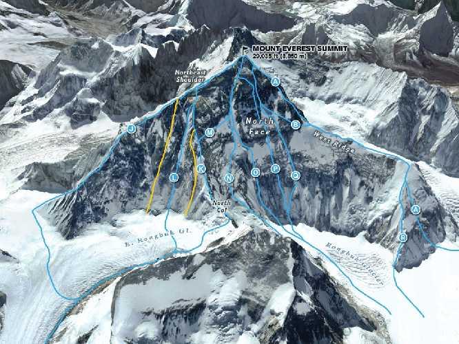 Эверест, маршруты Северной стены. Фото nationalgeographic . com