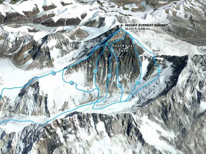 Эверест, маршруты юго-западной стены. Фото nationalgeographic . com