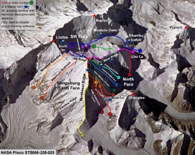 Эверест, все маршрут восхождения. Фото Pete Poston