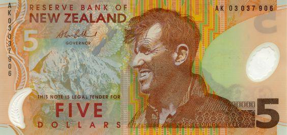 Изображение сэра Эдмунда Хиллари (Edmund Hillary) на банкноте Новой Зеландии