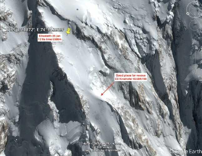 Примерное место нахождения Элизабет Ривол и площадка для посадки спасательного вертолета на Нангапарбат