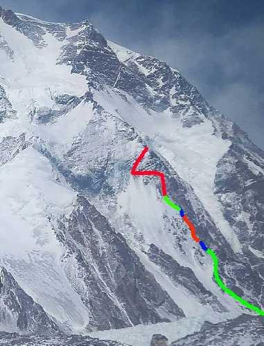 Пройденный маршрут Дениса Урубко на К2. Фото 23 января 2018 года