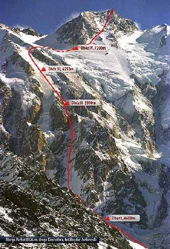 Нангапарбат.  маршрут Тони Кинсхофера (Kinshofer Route) 1960 года проходящему по стене Диамир (Diamir Face)