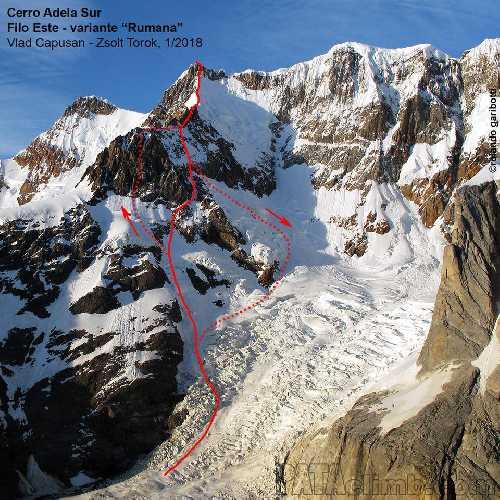 Нитка нового маршрута на вершину Серро Адела Сур (Cerro Adela Sur) высотой 2800 метров. Фото Vlad Capusan