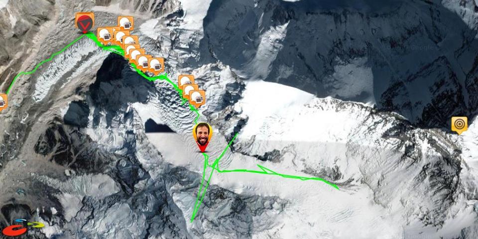 Трек Алекса Тикона от первого до второго лагеря и обратно