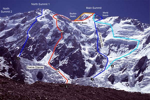 Нангапарбат (Nanga Parbat, 8126 м). Стена Диамир. Маршрут Месснера под №4. Маршрут Тони Кинсхофера (Kinshofer Route) под номером 1