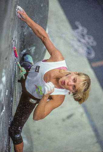 Робин Эрбесфилд-Работу (Robyn Erbesfield-Raboutou) на этапе Кубка Мира по скалолазанию в Беркли, Калифорния 1990 год. Фото  Beth Wald