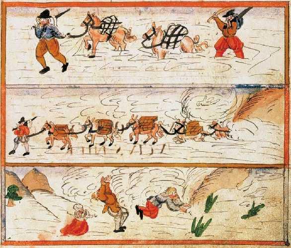 Рисунок швейцарского протестантского священника из Цюриха Иоганна Якоба Вика (Johann Jakob Wick, 1522 — 1588), иллюстрирующий лавину и наводнение, февраль 1586 года.  (Zentralbibliothek Zürich, Handschriftenabteilung, Wickiana, Ms. F 34, fol. 28r)