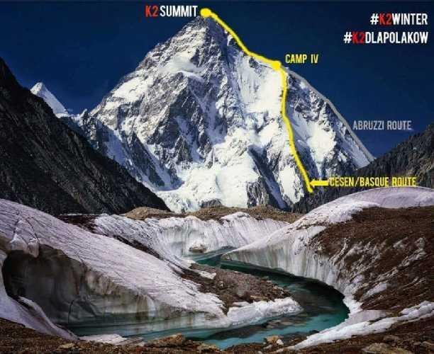 Маршрут, которым пытаются подняться польские альпинисты на К2