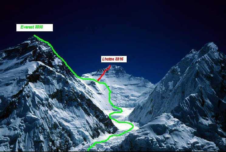 Маршрут на Эверест и Лхоцзе по стандартному маршруту с непальской стороны
