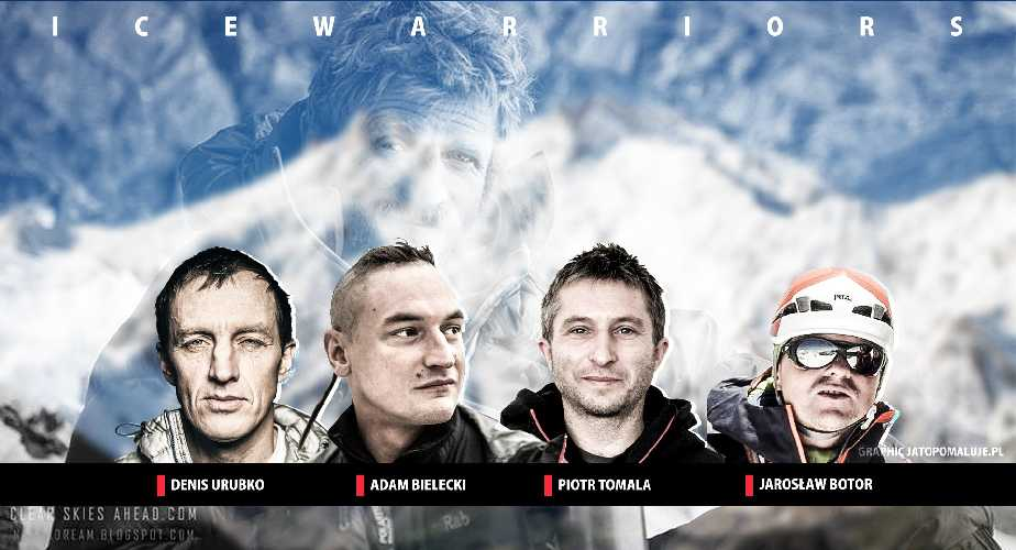 Участники спаскоманды на Нангапарбат: Денис Урубко,  Адам Белецкий (Adam Bielecki), Пётр Томала (Piotr Tomala), Ярослав Ботор (Jarosław Botor)