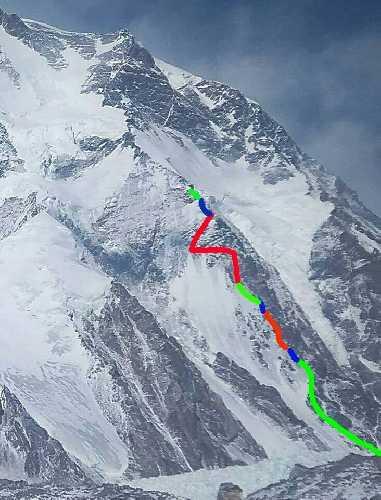 Разноцветные отрезки обозначают участки маршрута, провешенные в различные выходы на гору