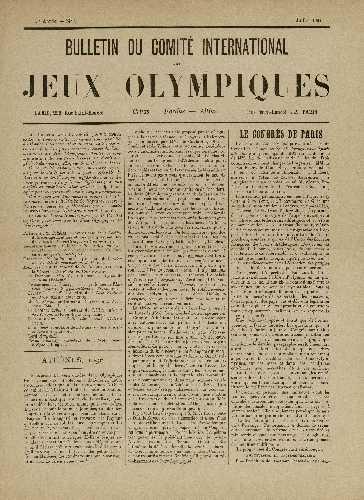 Первый бюллетень Международного олимпийского комитета, июль 1894 года
