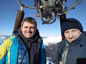 Впервые в Украине Черногорский хребет в Карпатах был преодолен на воздушном шаре