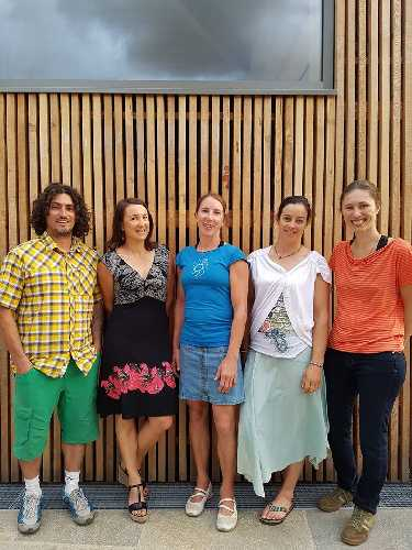 Авторы и героини фильма,   справа – налево: Sandra Ducasse (режиссер и сценарист) -  Marion Poitevin, Martina Cufar-Potard - Liv Sansoz  -  Francisco Taranto Jr.(режиссер и продюсер)