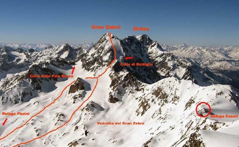 место схода лавины на горе Гран Зебру (Königsspitze / Gran Zebrù) у перевала Бутылка. Фото Summit Post