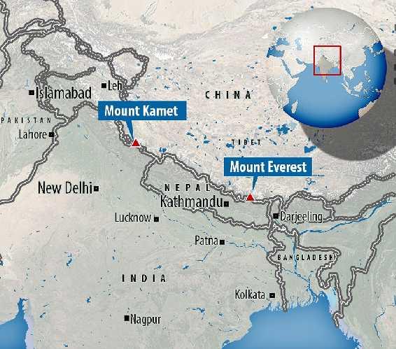 гора Камет (Mount Kamet 7756 м).