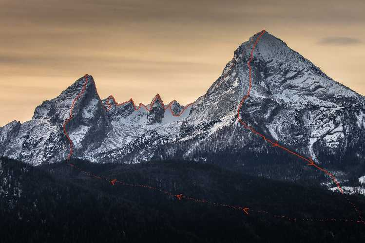 траверс горно массива Вацманн (Watzmann, 2713 м). Фото Stefan Wiebel