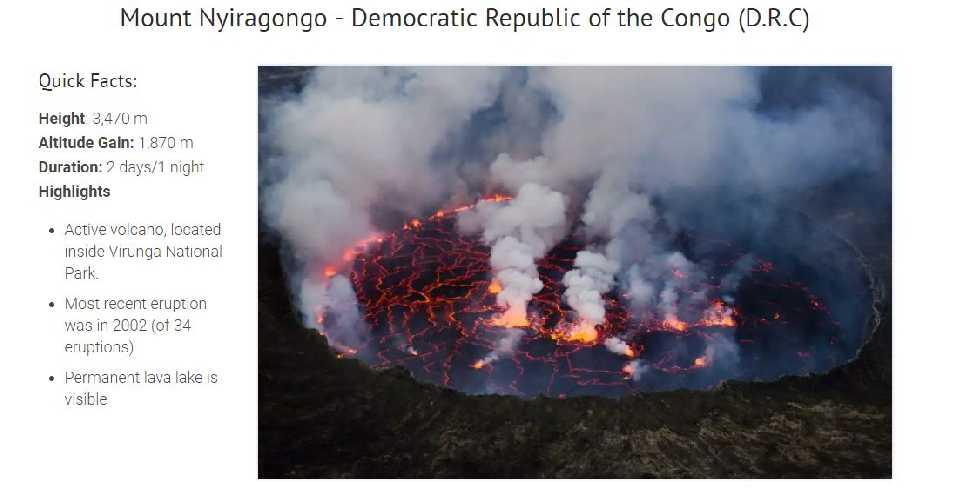 Нийрагонго (Mount Nyiragongo 3470 м) – действующий вулкан, расположенный на территории Конго