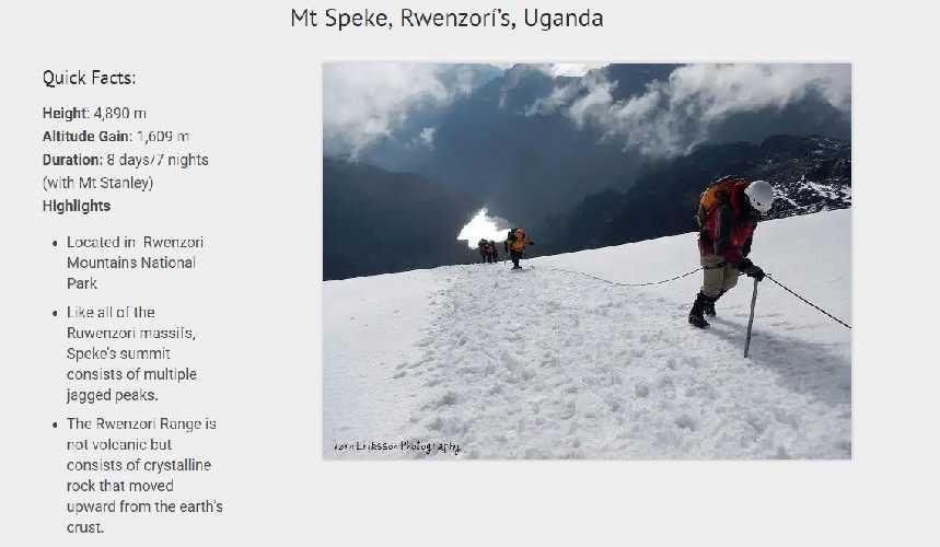 Спик  (Mount Speke, 4890 м)
