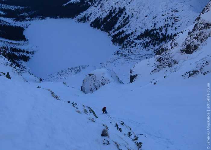 Над Грушкой (Gruszka — скальный бастион, разделяющий кулуар под снегосборником на две части). Фото Евгений Образцов